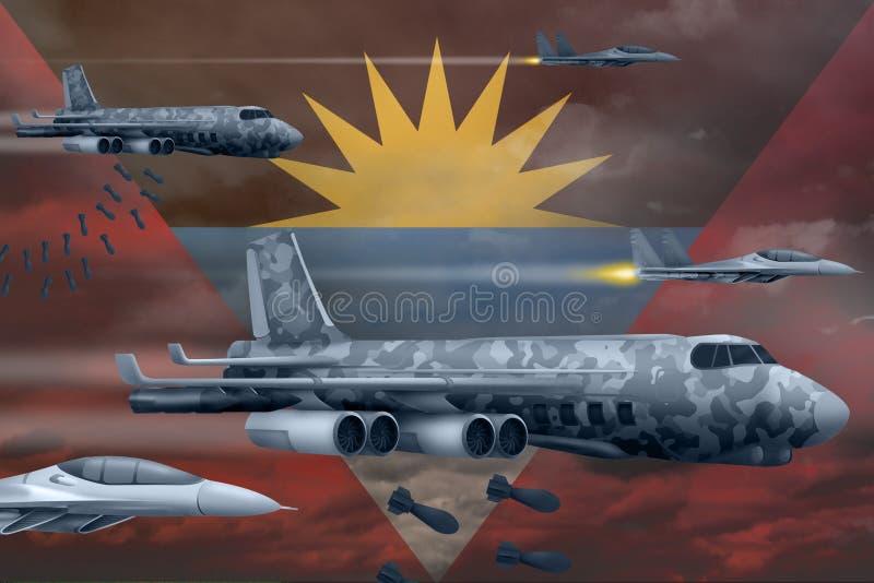 Les Armées de l'Air de l'Antigua-et-Barbuda bombardant le concept de grève Les avions d'air d'armée de l'Antigua-et-Barbuda laiss illustration stock