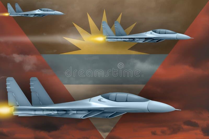 Les Armées de l'Air de l'Antigua-et-Barbuda frappent le concept Les avions d'air attaquent sur le fond de drapeau de l'Antigua-et illustration libre de droits