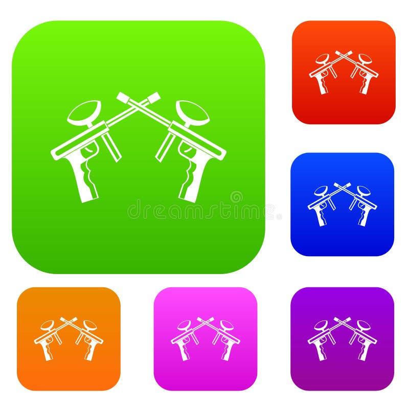 Les armes à feu de Paintball ont placé la collection illustration libre de droits