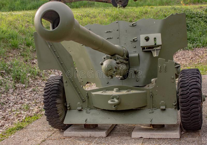Les armes antiaériennes italiennes dans la deuxième guerre mondiale, ils ont protégé la lagune vénitienne contre des bateaux et d photographie stock