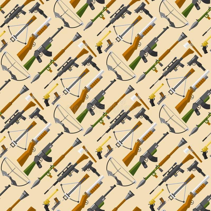 Les armes lance l'illustration sans couture de vecteur de balles de pistolet de fond de mod?le de fusils d'assaut de mitraillette illustration libre de droits
