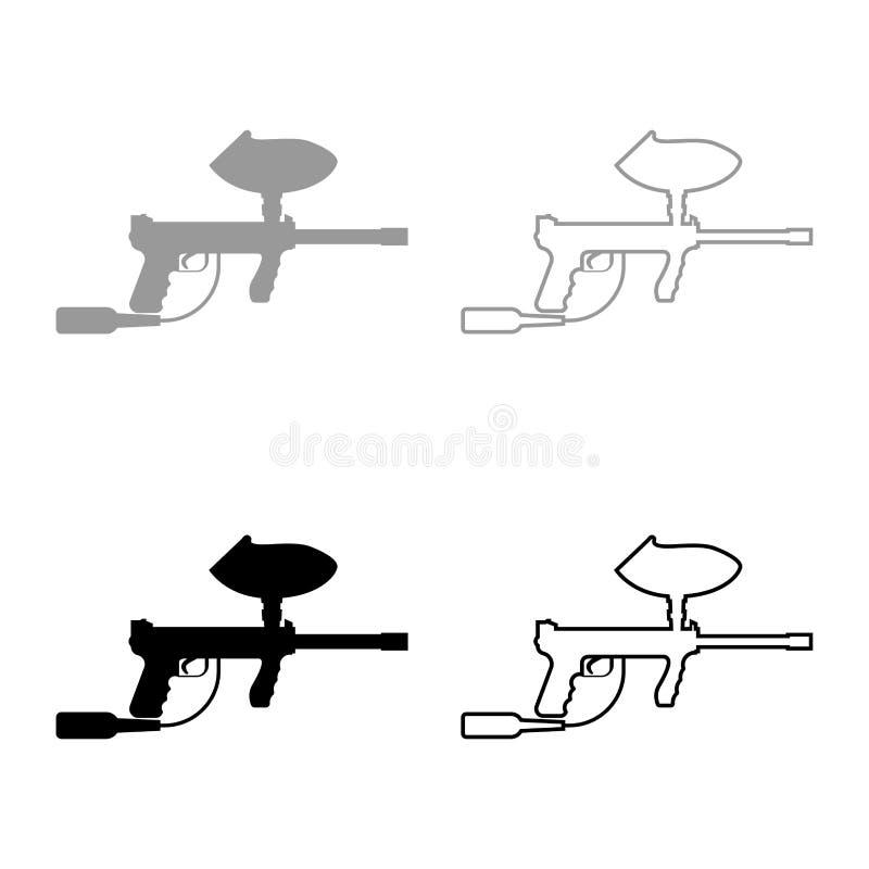 Les armes pour l'icône de paintball ont placé la couleur noire grise illustration libre de droits