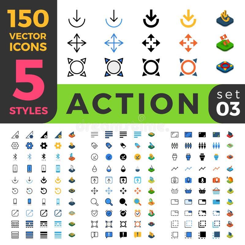 Les arrangements 150 d'action rayent le Web mobile isométrique plat illustration stock
