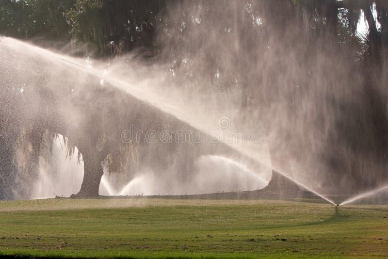 Les arroseuses versent l'eau sur le fairway de terrain de golf photographie stock libre de droits