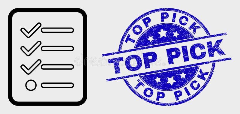 Les articles de découpe de vecteur énumèrent l'icône de page et le filigrane supérieur grunge de sélection illustration de vecteur