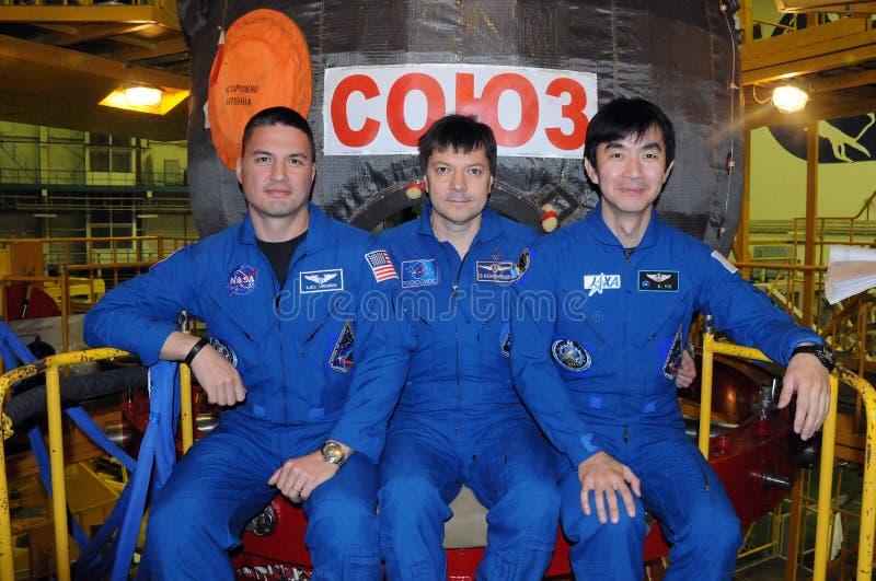 Les astronautes Kjell Lindgren, Oleg Kononenko et Kimiya Yui photo stock