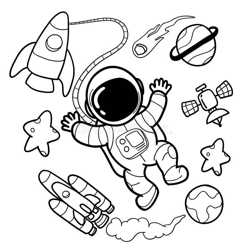Les astronautes mignons remettent des dessins illustration de vecteur