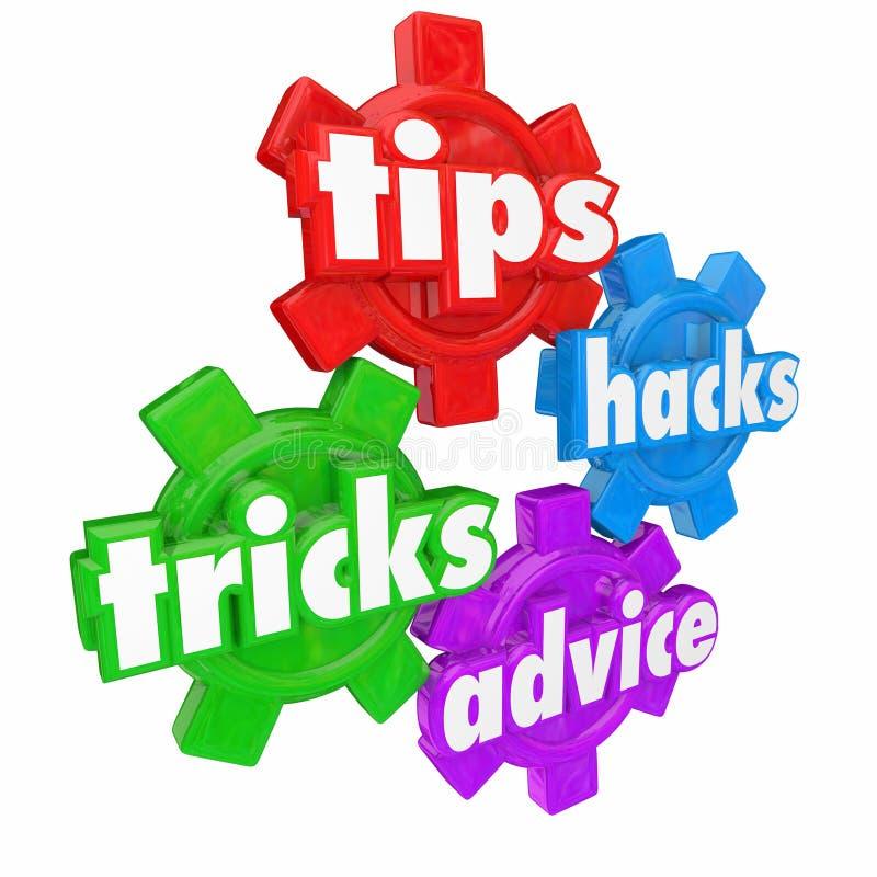 Les astuces dupe des aides et l'aide d'aide de mots de vitesses de conseil comment à illustration stock