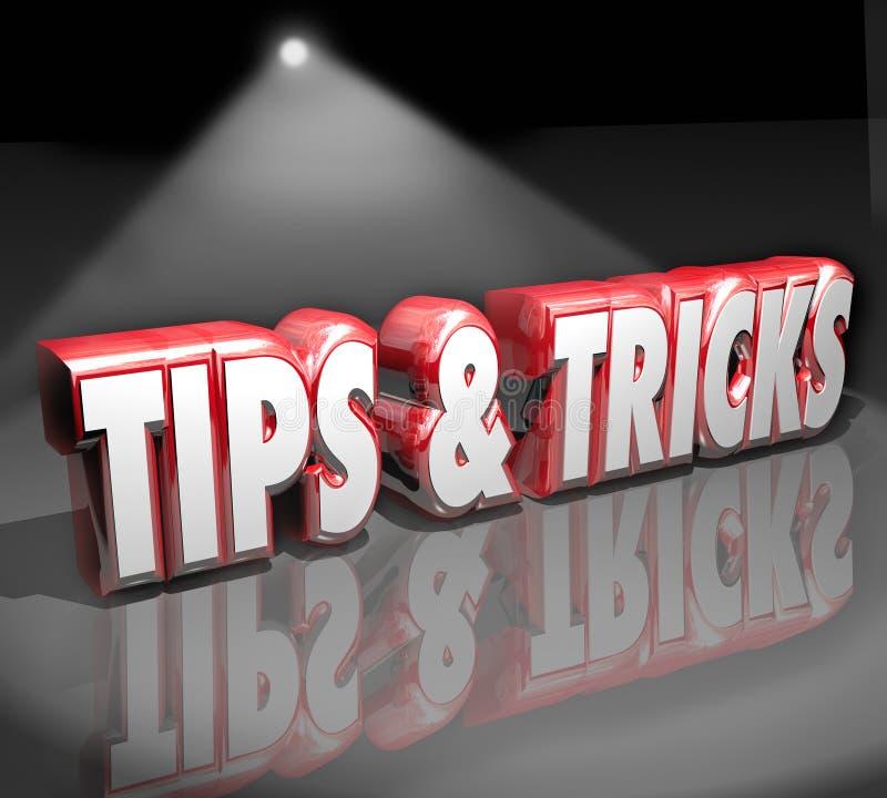 Les astuces dupe le projecteur des mots 3d utile comment au conseil de l'information illustration stock