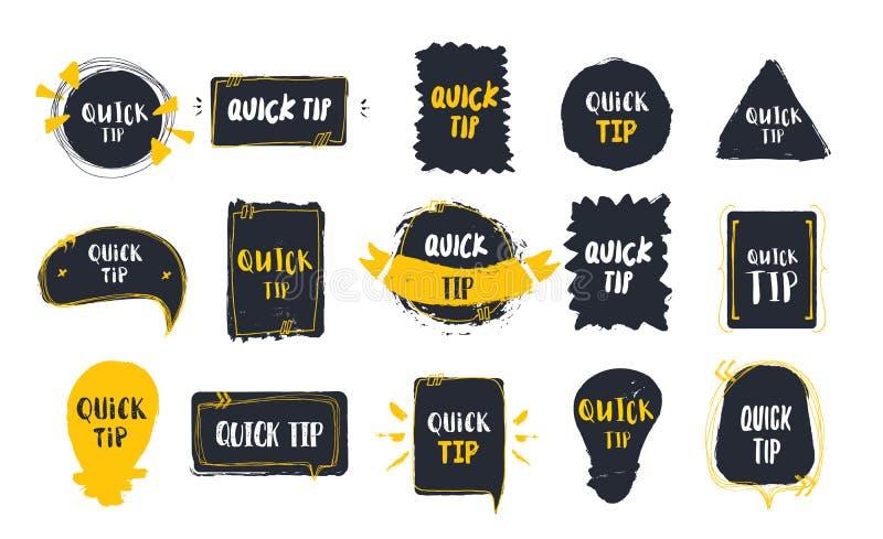 Les astuces rapides badge l'ensemble sur les bannières noires avec l'ampoule Différents styles grunges dans la forme du cercle, p illustration stock
