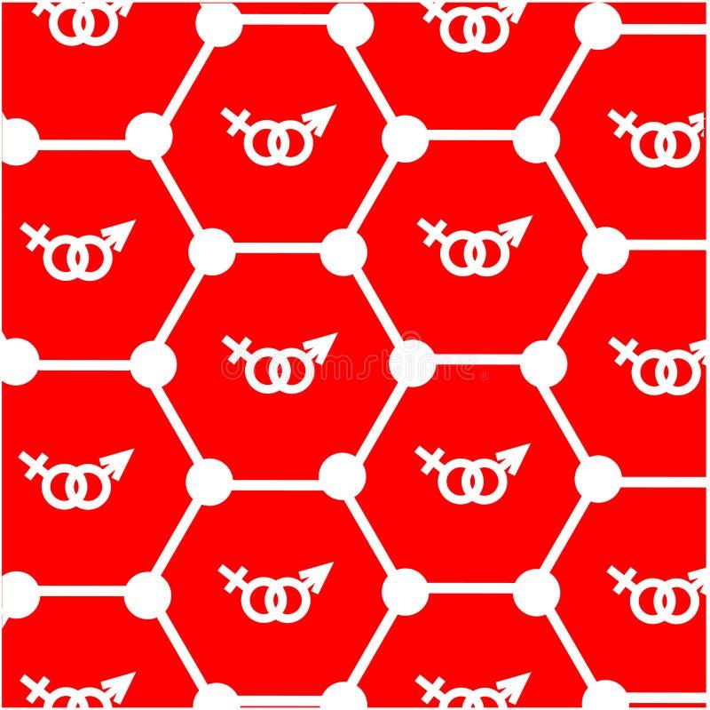 Les atomes et se connecte le fond rouge illustration stock