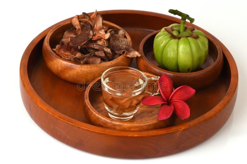 Les atroviridis de Garcinia infusion portent des fruits, secs et frais et secs le thé pour perdre le poids images stock