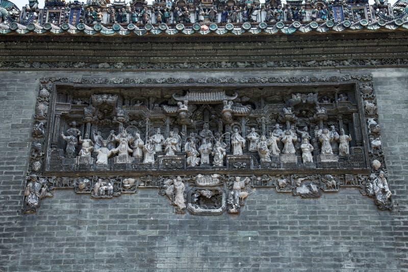 Les attractions touristiques célèbres dans le temple héréditaire de la Chine Chen de ville de Guangzhou sur le toit, brique produ photographie stock