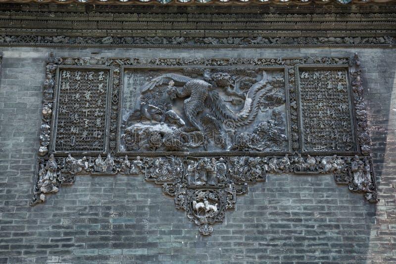 Les attractions touristiques célèbres dans le temple héréditaire de la Chine Chen de ville de Guangzhou sur le toit, processus de photographie stock