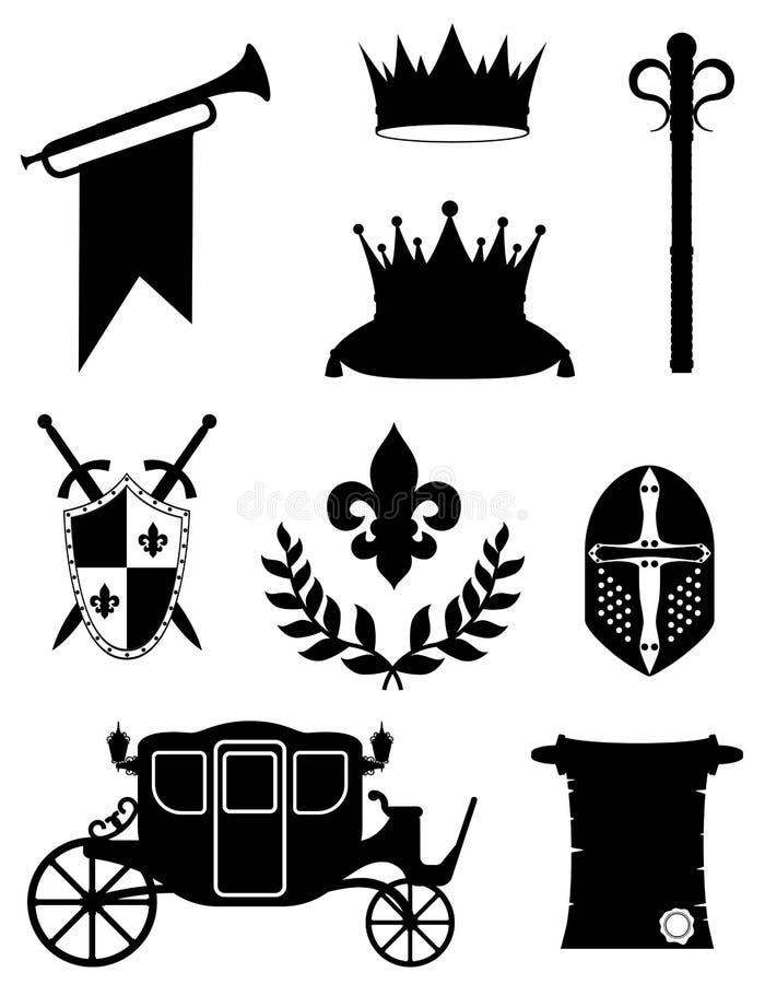 Les attributs d'or royaux de roi de la puissance médiévale noircissent le sil d'ensemble illustration libre de droits
