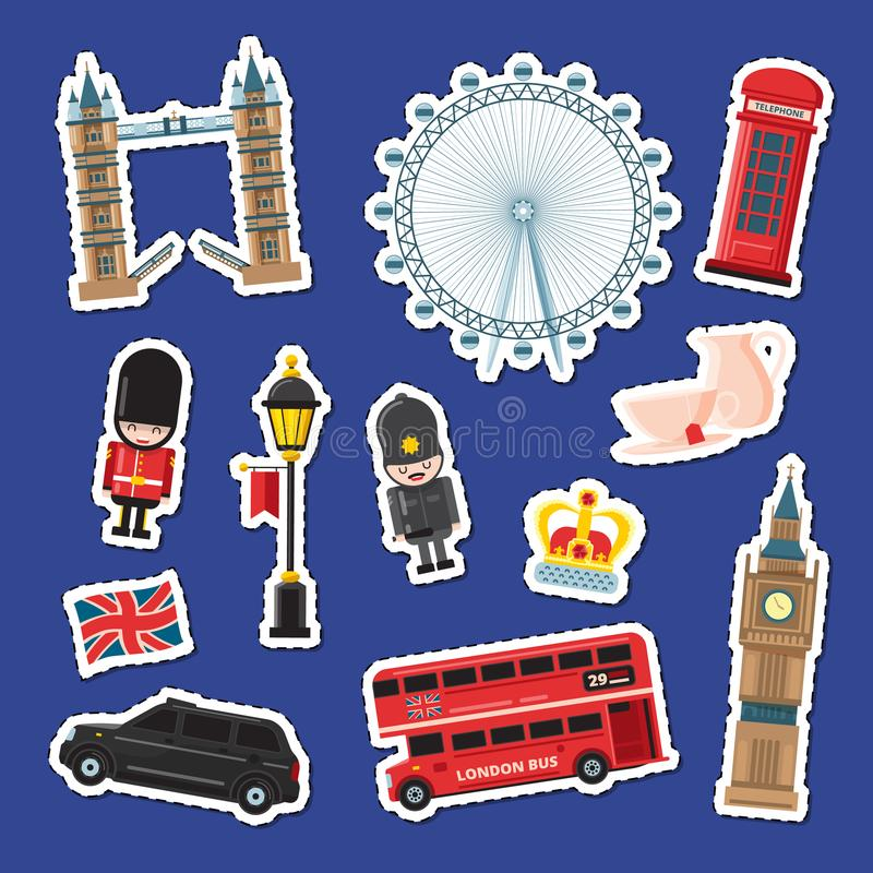 Les autocollants de Londres de bande dessinée de vecteur ont placé l'illustration Bannières d'attractions de l'Angleterre illustration de vecteur