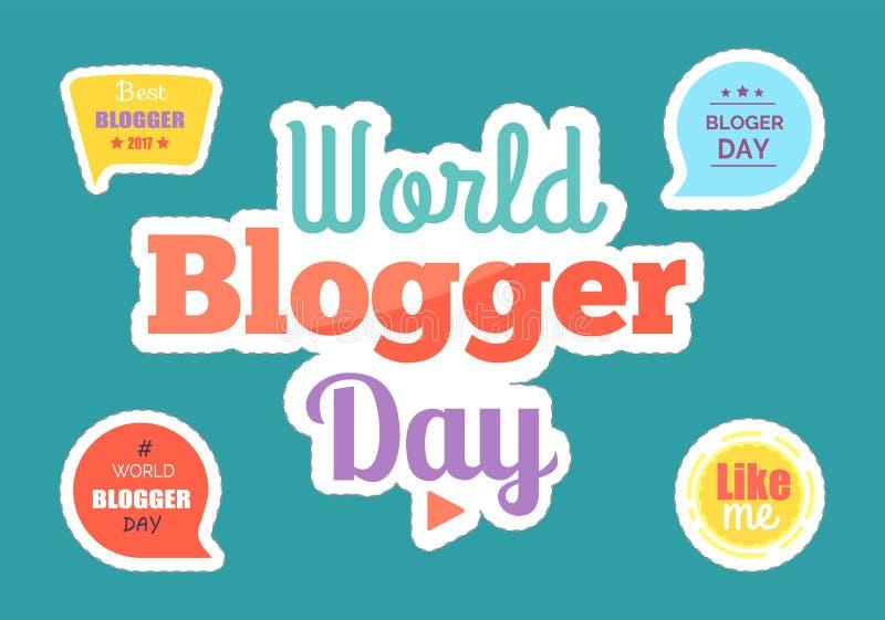 Les autocollants et les boîtes de jour de Blogger du monde ont placé le vecteur illustration stock