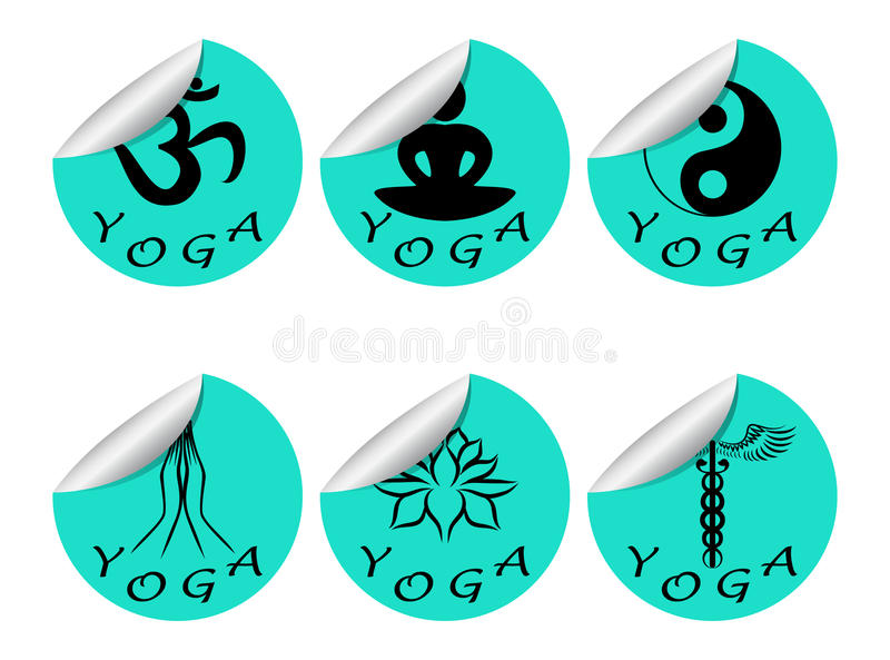 Les autocollants ont placé le YOGA illustration stock