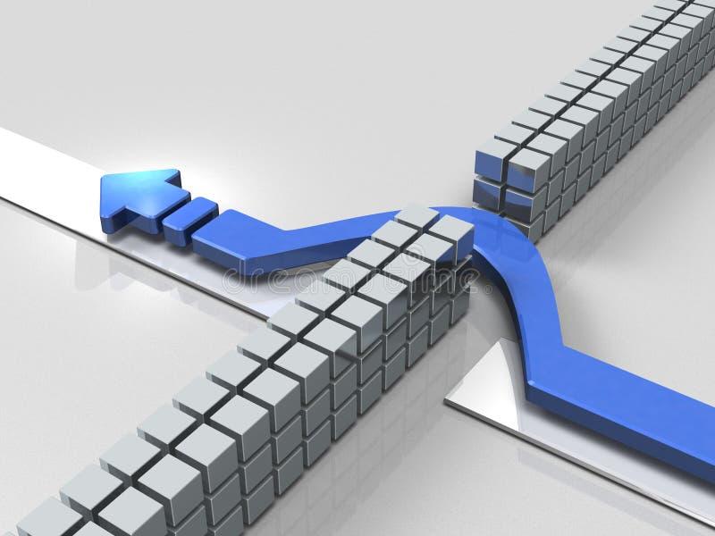 Les avances bleues de flèche pour éviter des obstacles illustration de vecteur
