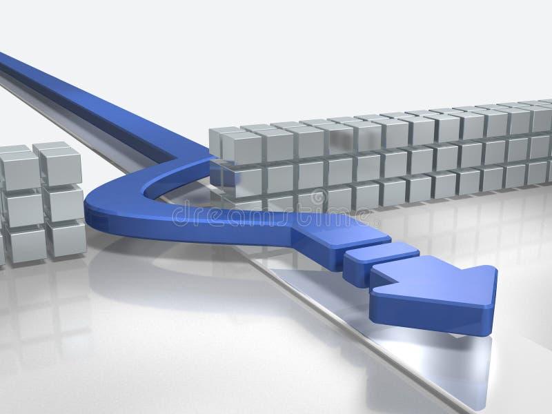 Les avances bleues de flèche pour éviter des obstacles illustration stock