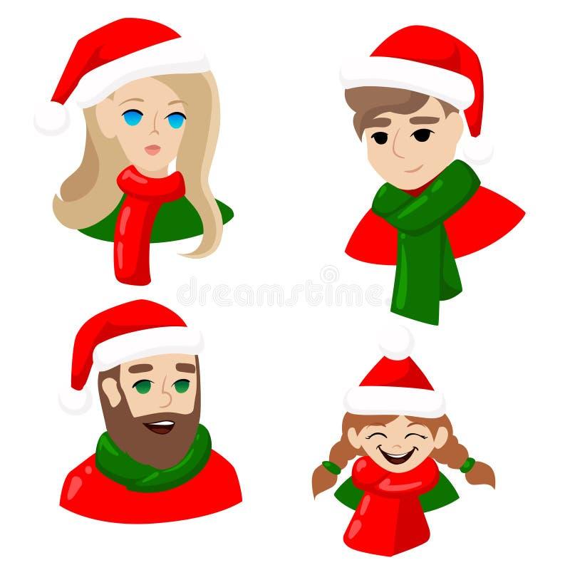 Les avatars de nouvelle année pour les réseaux sociaux Les gens en type de fille des chapeaux du père noël équipent le Joyeux Noë illustration de vecteur