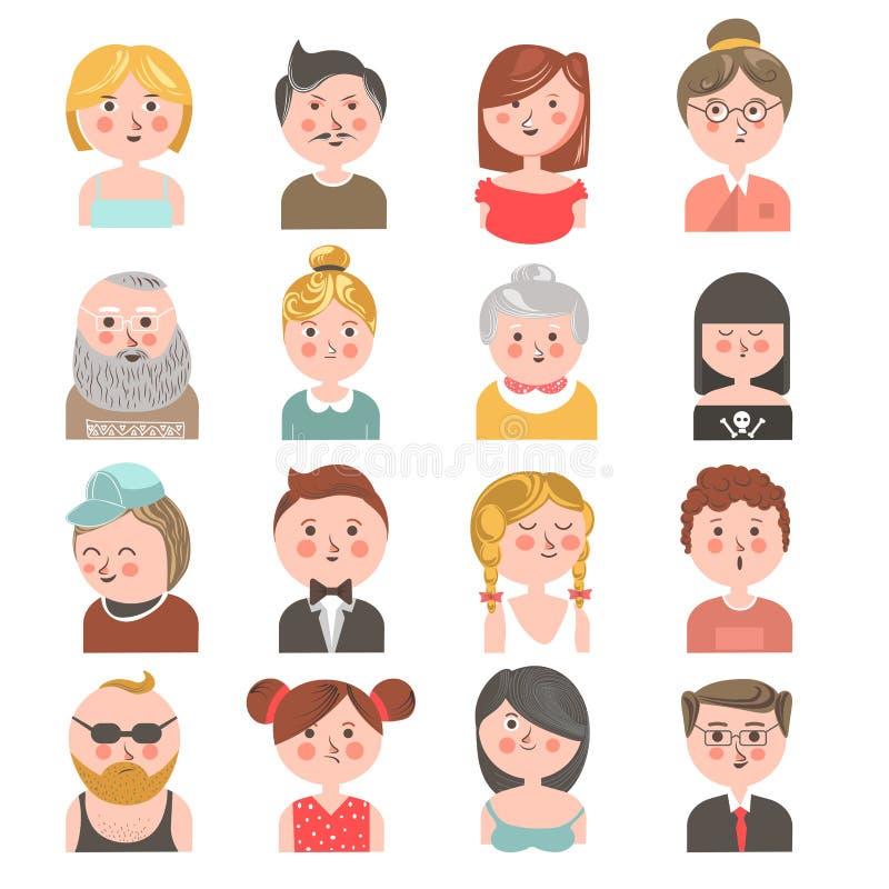Les avatars de personnes de tous vieillit la collection colorée sur le blanc illustration libre de droits