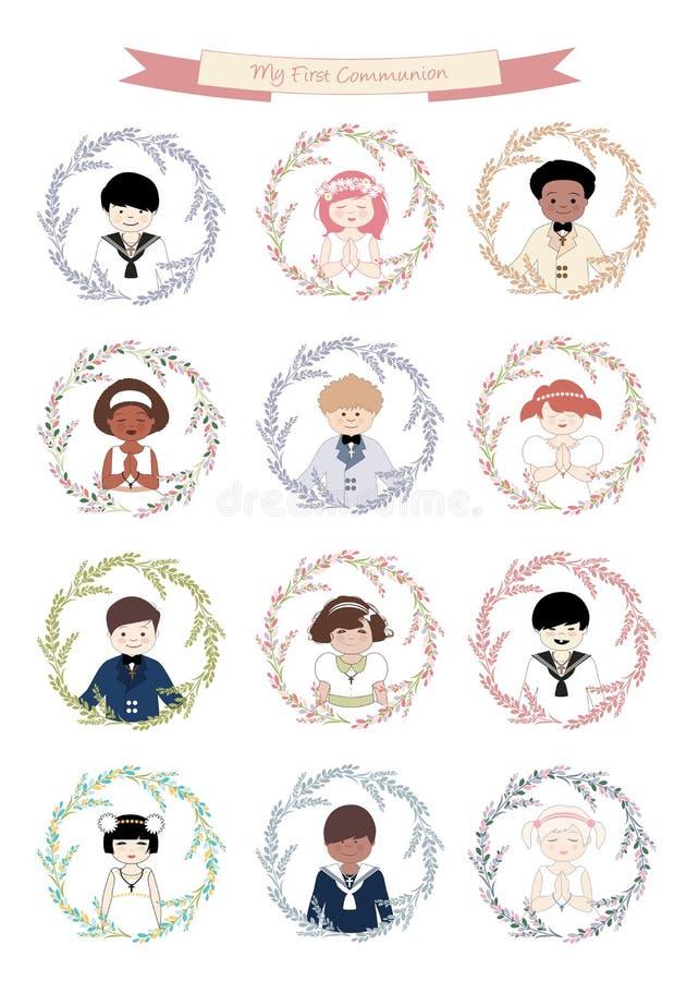 Les avatars des garçons et des filles mignons se sont habillés dans des vêtements de communion entourés par la guirlande de fleur illustration stock