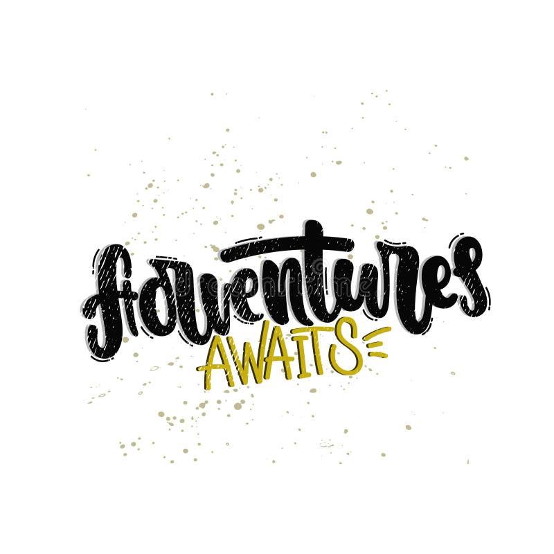 Les aventures attend l'inscription illustration stock