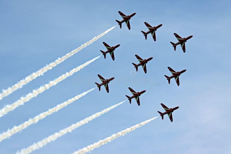 Les avions à réaction rouges de l'Armée de l'Air des flèches RAF photo libre de droits