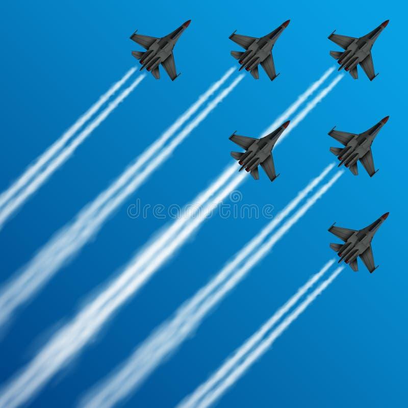Les avions de chasse militaires avec des traînées de condensation en ciel dirigent l'illustration illustration de vecteur