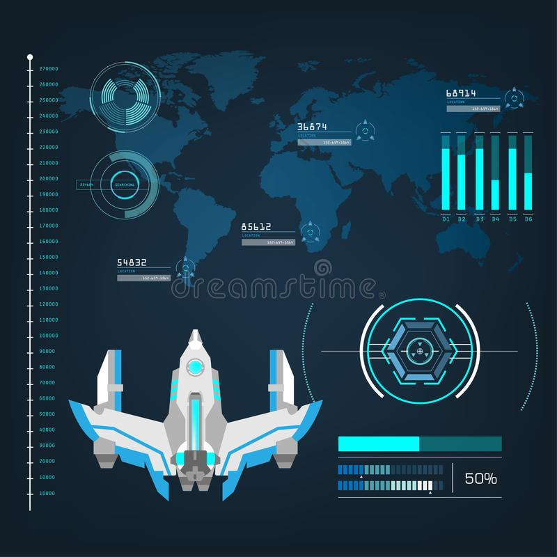 Les avions de vaisseaux spatiaux avec le futur mode d'action de vue connectent illustration de vecteur