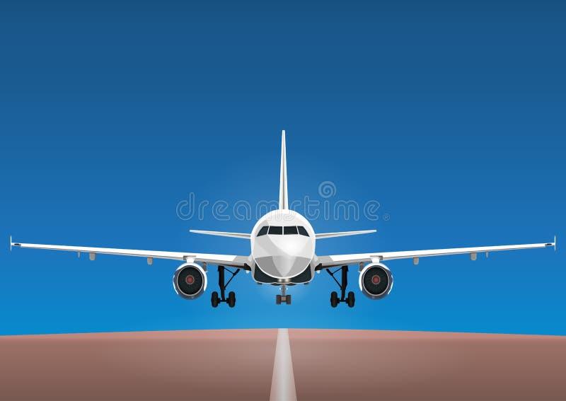 Les avions dirigent, avion de décollage dans la perspective du ciel bleu et la piste illustration libre de droits