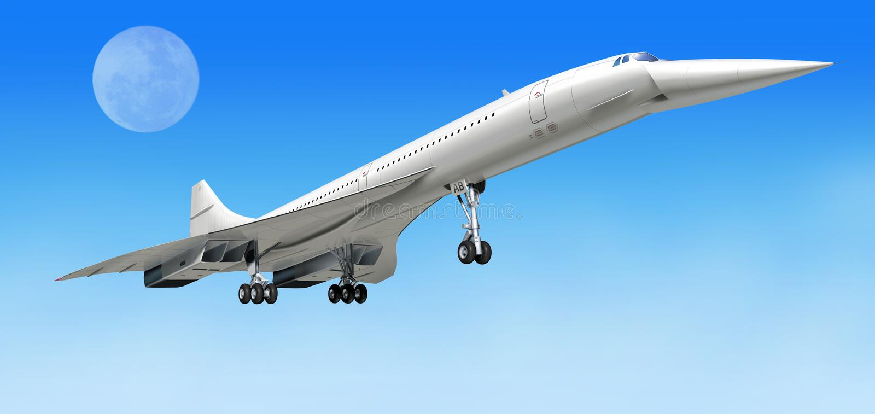 Les avions supersoniques d'avion de ligne de Concorde, pendant décollent. illustration libre de droits