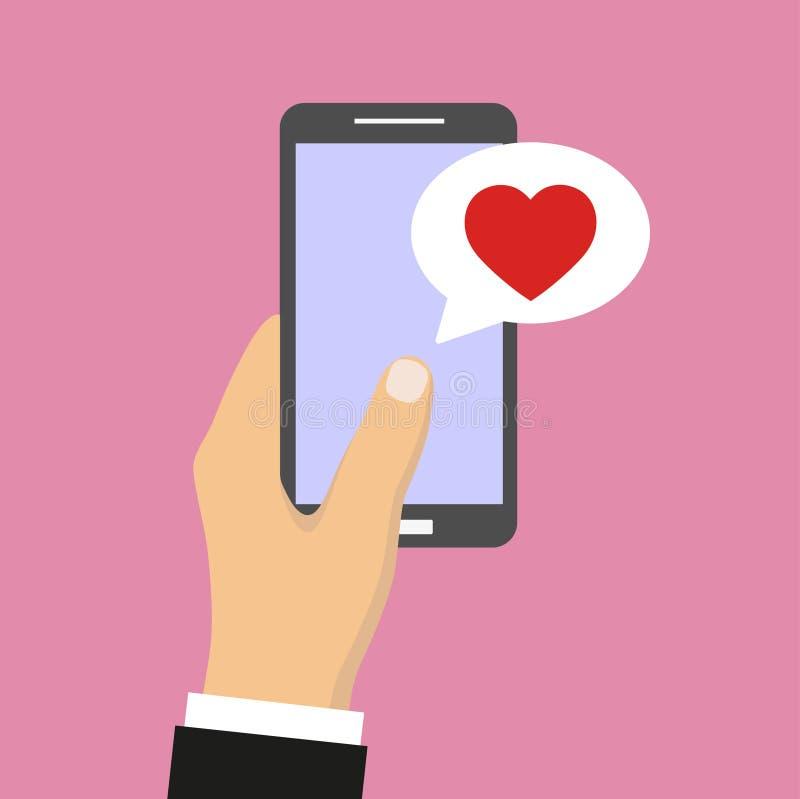 Les avis de message de causerie de téléphone portable dirigent l'illustration d'isolement sur le fond de couleur, illustration libre de droits