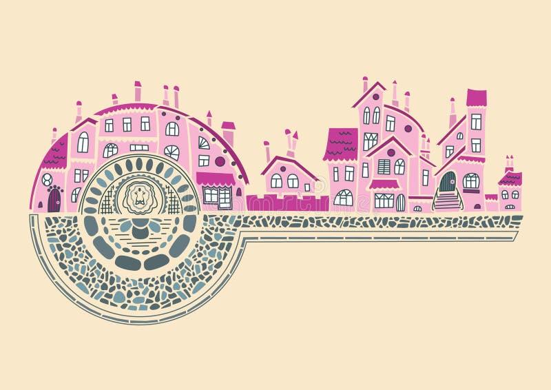 Les bâtiments médiévaux romantiques aiment une clé au promoteur illustration de vecteur
