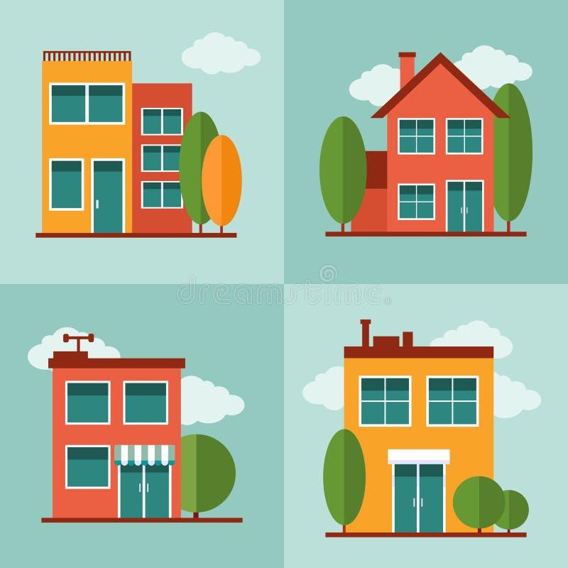Les bâtiments résidentiels de ville ont placé dans le style plat de vecteur illustration stock