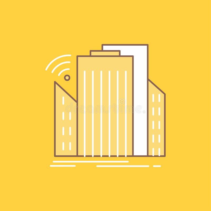 Les bâtiments, ville, capteur, ligne plate futée et urbaine ont rempli icône Beau bouton de logo au-dessus de fond jaune pour UI  illustration stock