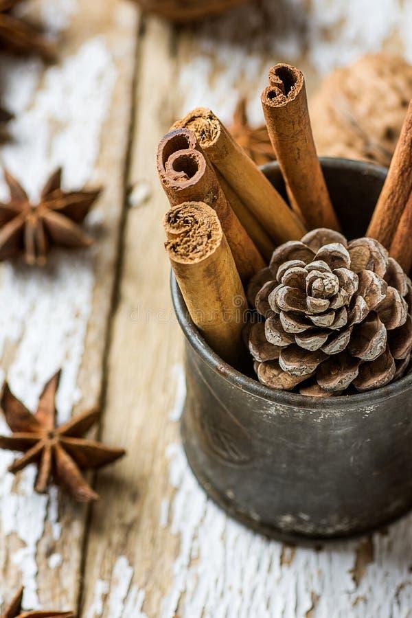Les bâtons de cannelle d'ingrédients de cuisson de Noël ont dispersé Anise Star Walnuts Pine Cone dans la cruche de vintage sur l photographie stock libre de droits