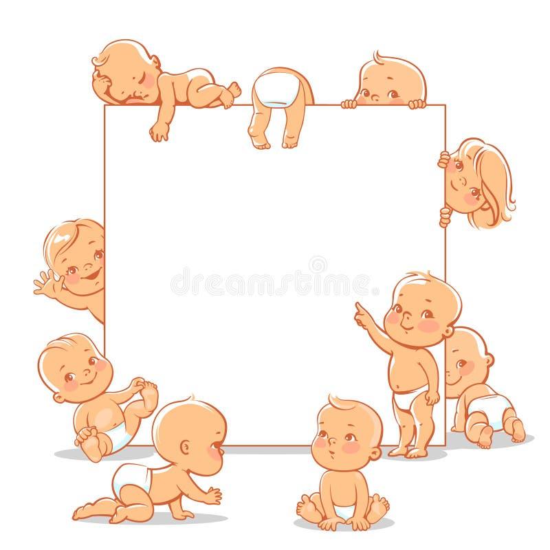 Les bébés s'approchent du cadre de thext illustration stock