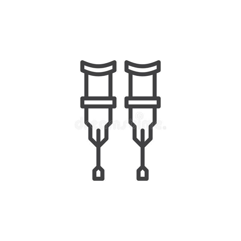 Les béquilles rayent l'icône, signe de vecteur d'ensemble, pictogramme linéaire de style d'isolement sur le blanc illustration libre de droits