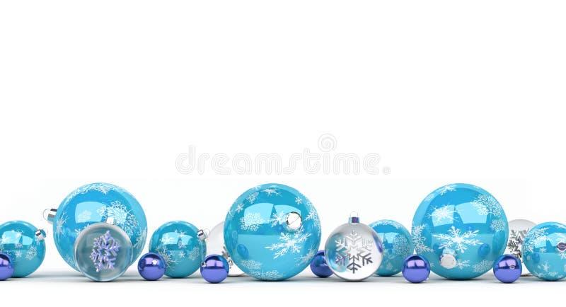 Les babioles de Noël bleu et blanc ont aligné le rendu 3D illustration libre de droits