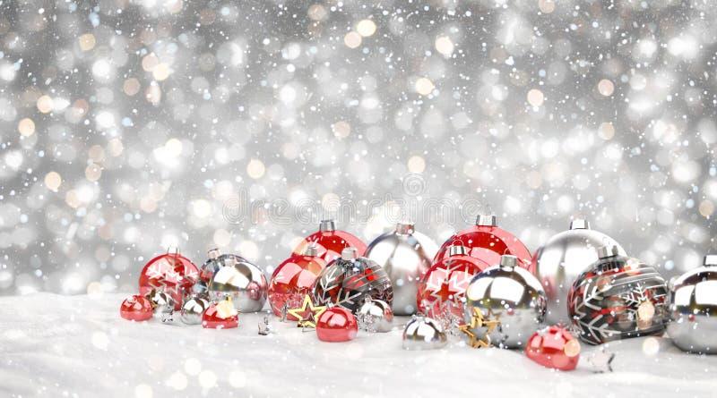 Les babioles de Noël rouge et blanc ont aligné le rendu 3D illustration stock