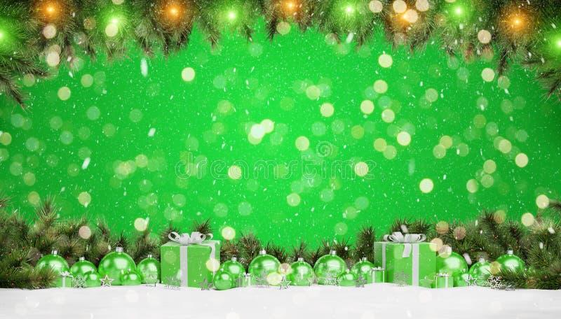 Les babioles et les cadeaux verts de Noël ont aligné le rendu 3D illustration stock