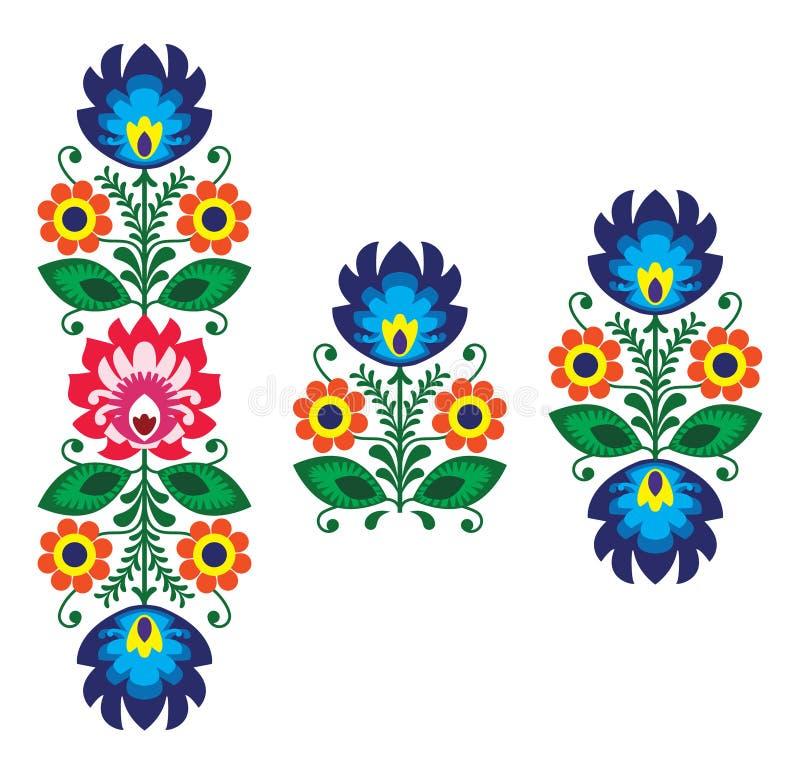 Broderie folklorique avec des fleurs - modèle polonais traditionnel illustration de vecteur
