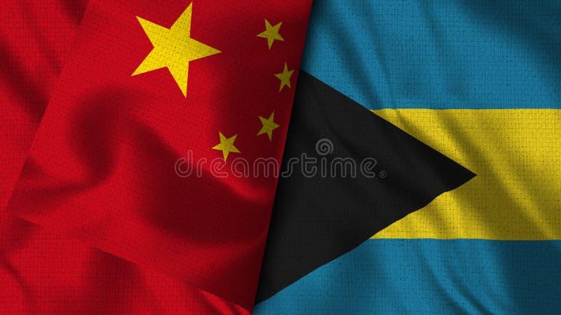 Les Bahamas et le drapeau de la Chine - 3D drapeau de l'illustration deux illustration stock