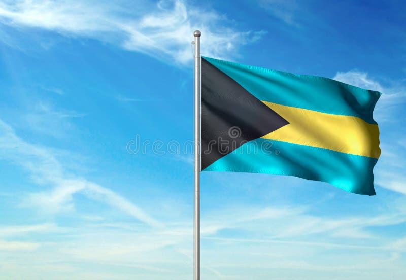 Les Bahamas marquent l'ondulation avec le ciel sur l'illustration 3d réaliste de fond illustration de vecteur