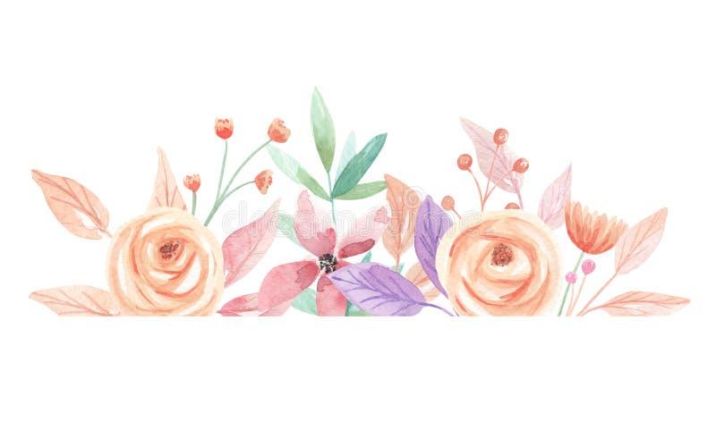 Les baies d'été d'aquarelle fleurit la frontière de feuille de feuilles illustration stock