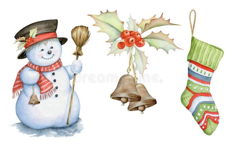 Les baies de bonhomme de neige, de houx et le Noël cognent des illustrations d'aquarelle sur le fond blanc illustration libre de droits
