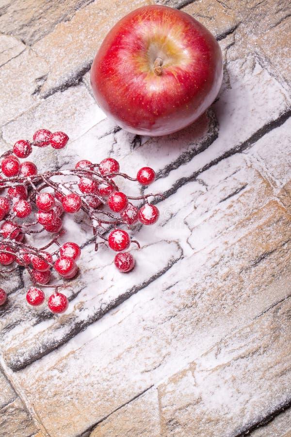 Les baies de l'hiver et la pomme rouges de Noël avec la poudre neigent photos stock