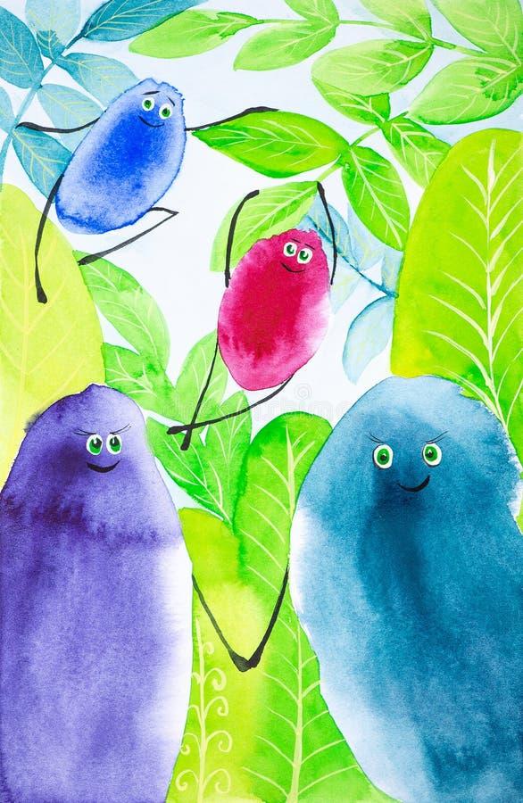 Les baisses abstraites color?es d'oiseaux jouent parmi le vert de feuilles ainsi Illustration comique d'aquarelle illustration de vecteur